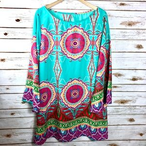 Turquoise pink medallion print Auditions size 2XL